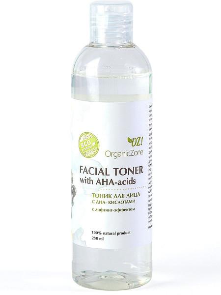 Тоник для лица с АНА-кислотамиc лифтинг-эффектом Organic Zone, 250мл