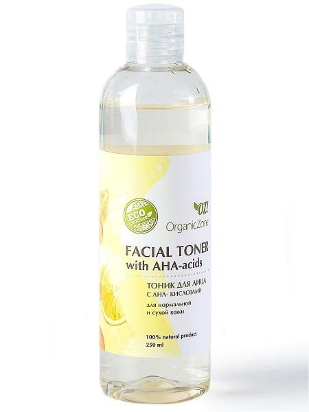 Тоник для лица с АНА-кислотами для нормальной и сухой кожи Organic Zone, 250мл