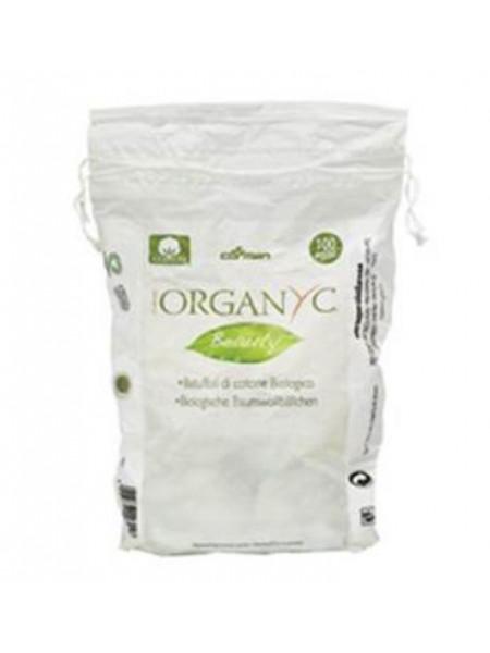 Ватные шарики из органического хлопка 100шт, Organyc 3716