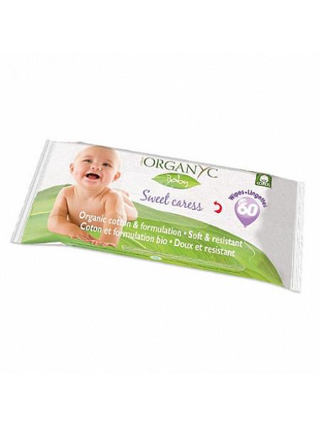 Детские влажные салфетки, Organyc, 60шт