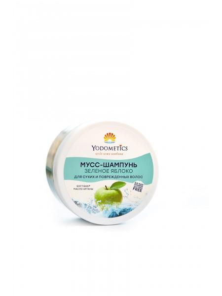 Yodometics Мусс-шампунь для сухих и поврежденных волос Зеленое яблоко, 250 мл